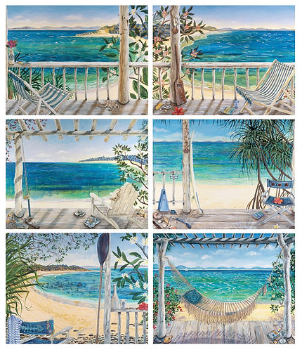 6 PLACEMATS + 6 COASTERS SET - AUSTRALIAN BEACH, OCEAN BALCONIES