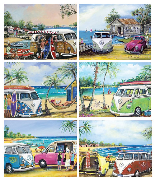 6 Placemats + 6 Coasters - Australia,Cork - VW Kombis,Beach,Surf,Ocean,Panel Van