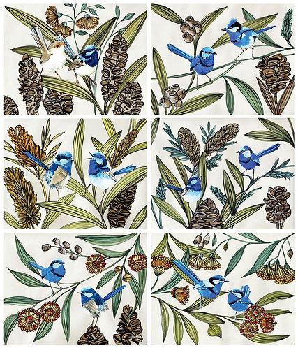 6 Placemats + 6 Coasters - Australia,Cork - Fairy Blue Wren Bird, Native Flowers