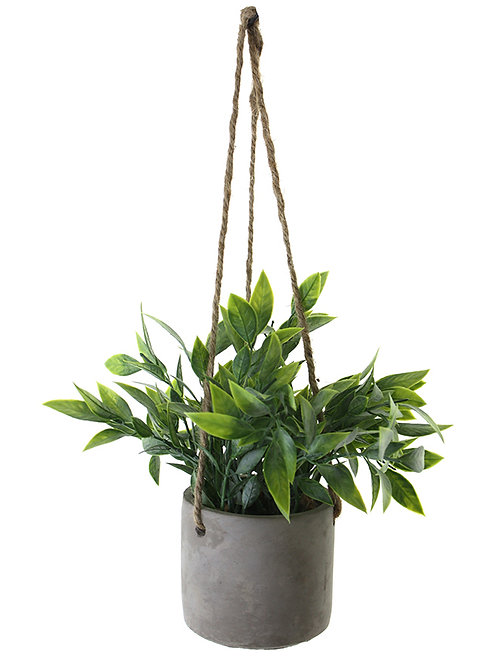 HANGING LEAF BUSH PLANT IN POT (SMALL) - ARTIFICIAL, FAKE, HOME DECOR