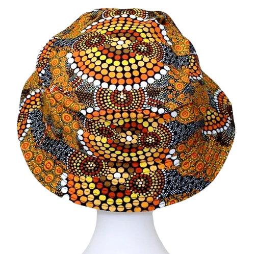 Aboriginal Bucket Hat, Adult SIze - Soft Cotton - Australia, Colours of the Land