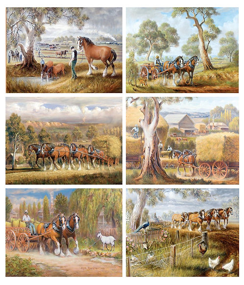 6 PLACEMATS + 6 COASTERS SET- AUSTRALIAN CINNAMON-WORKING HORSES, COUNTRY, FARMS