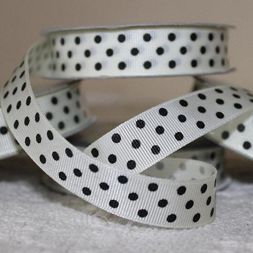 Grosgrain Ribbed Ribbon - 3mtrs x 16mm - Polka Dot - Black & Off-White, Cream
