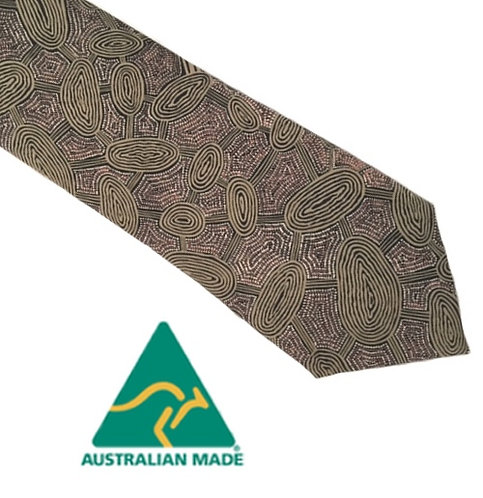 Aboriginal Men's Suit Tie - Australia, Yijan Travel Dream, Brown, Nampajimpa