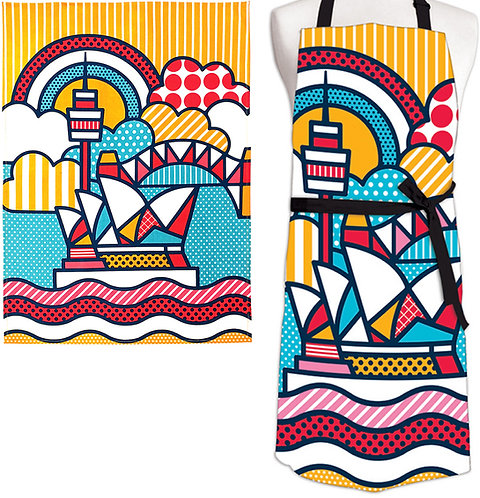 Tea Towel & Apron - Gift Set - Australia, Sydney Opera House, Pop Art, Souvenir