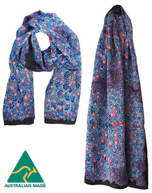 Aboriginal Ladies Scarf - 100% Satin Silk - Bush Banana Blue - Australian Made