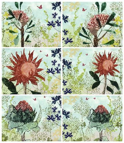 6 PLACEMATS + 6 COASTERS - FLOURISH, NATIVE FLOWERS, AUSTRALIA, CINNAMON, CORK