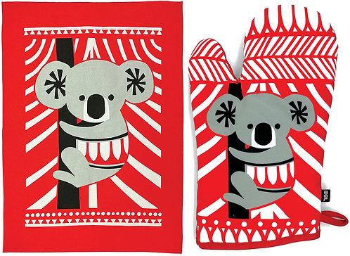 Tea Towel & Oven Mitt, Glove - Gift Set - Australia, Koala, Souvenir, Scandi