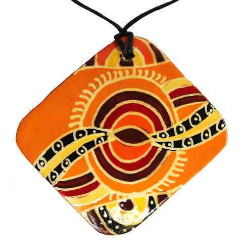 Aboriginal Pendant, Necklace, 6cm Diamond - Australia, Iwantja, Julie Yatjitja