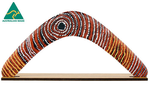 "14"" / 35cm RETURNING TIMBER BOOMERANG + STAND - ABORIGINAL ART - AUSTRALIAN MADE"