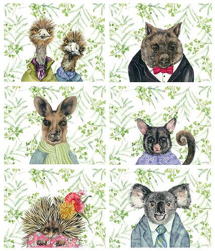 6 Placemats + 6 Coasters - Australia,Cork - Bush Tucker,Australian Animals,Birds