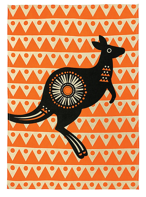 Tea Towel, Kitchen Towel - 100% Cotton - Australian Animal, Kangaroo, Retro