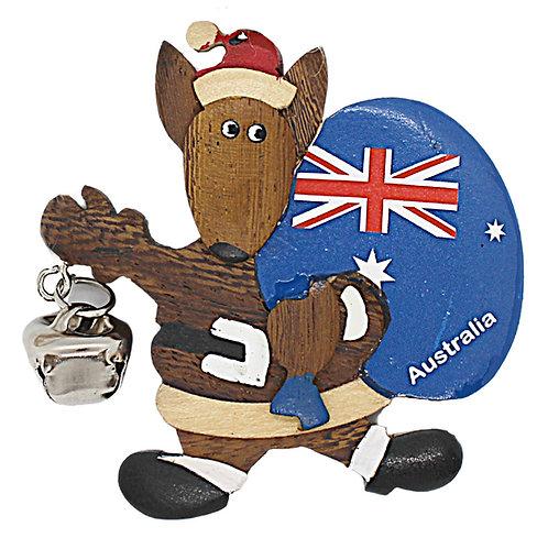 KANGAROO - CHRISTMAS TREE HANGING ORNAMENT - WOODEN - AUSTRALIA FLAG SACK & BELL