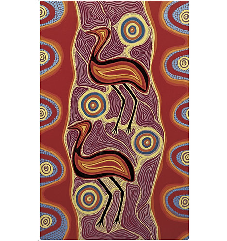 Tea Towel, Kitchen Towel - Cotton - Australian Animal, Aboriginal, Tobwabba Emus