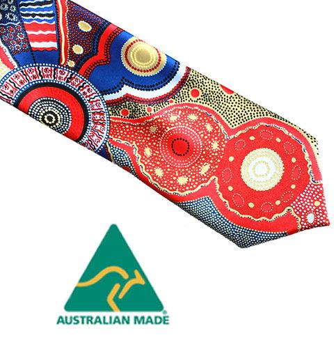 Aboriginal Men's Suit Tie - Australia, Kangaroo Story, Norman Cox, Blue, Red