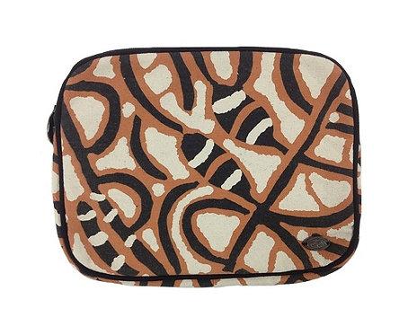 Pencil Case, Stationary, Tablet Holder - Australia, Aboriginal, Rust, Black