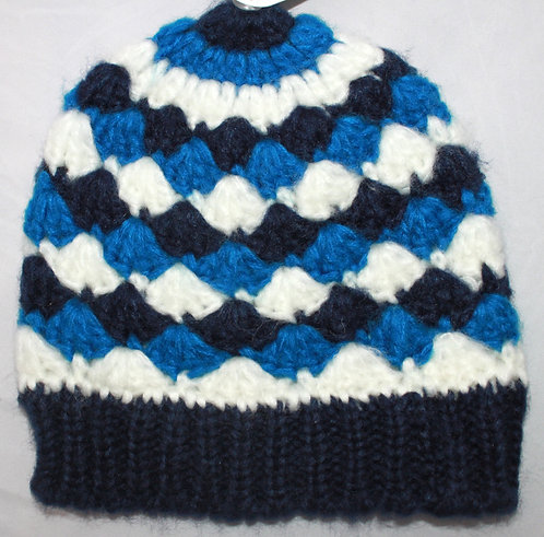 Girls Beanie - Blue & White Diamonds - Children, Snow, Winter