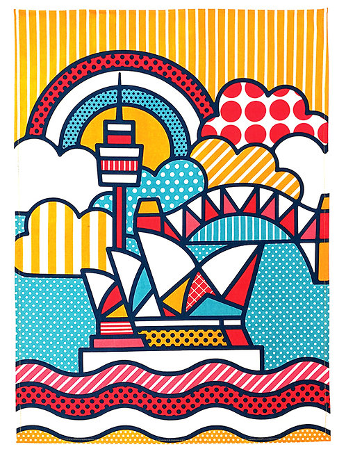 Tea Towel, Kitchen Towel - 100% Cotton - Sydney Opera House - Australia, Pop Art