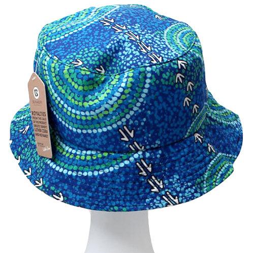 Aboriginal Bucket Hat - Adult SIze - Soft Cotton - Australia, Luther Cora Wet