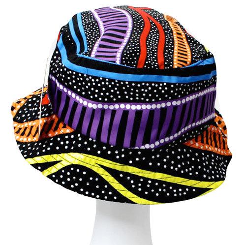 Aboriginal Bucket Hat - Adult SIze - Soft Cotton - Australia, Rainbow River