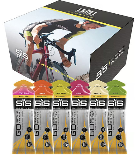 30 X 60ml SCIENCE IN SPORT (SIS) GO ISOTONIC MIXED ENERGY GELS - CYCLING,RUNNING