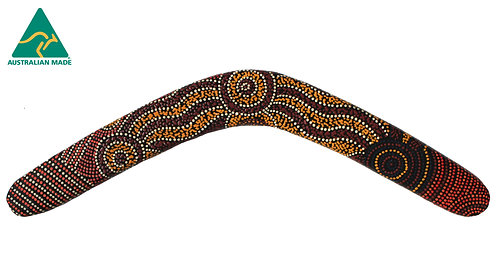 "22"" / 55cm HARDWOOD BOOMERANG - AUTHENTIC ABORIGINAL DOT ART - AUSTRALIAN MADE"