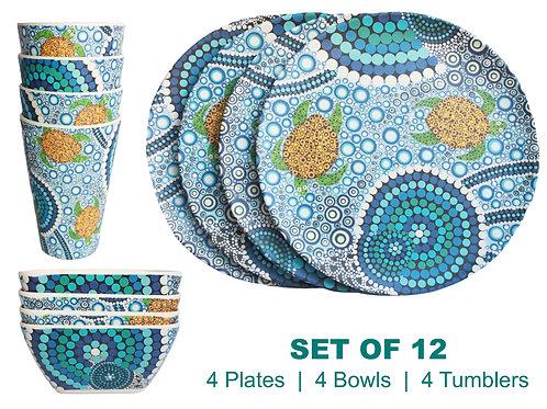 12-Piece Bamboo Picnic Set - 4 Plates,4 Bowls,4 Cups - Australia,Aboriginal Reef