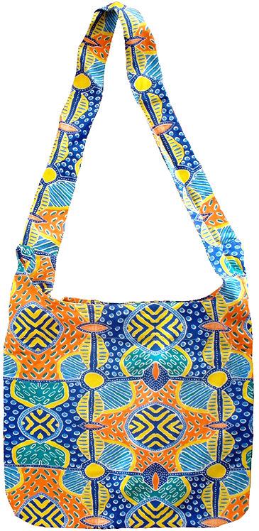 Tote Bag, Shopping Bag, Beach Bag, Day Bag - Australia, Aboriginal, Blue, Orange