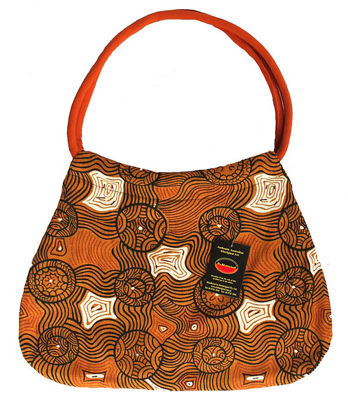 LADIES HANDBAG, CARRY BAG, BEACH BAG - DAY - AUSTRALIAN ABORIGINAL ART JUKURRPA