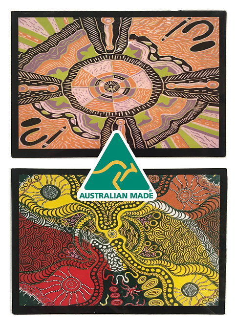 2 Aboriginal Art Magnets + 2 Blank Greeting Cards + 2 Envelopes - Australia