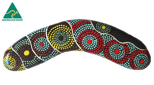 "8"" / 20cm HARDWOOD BOOMERANG - AUTHENTIC ABORIGINAL DOT ART - AUSTRALIAN MADE"