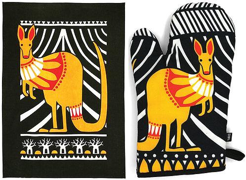 Tea Towel & Oven Mitt, Glove - Gift Set - Australia, Kangaroo, Souvenir, Scandi