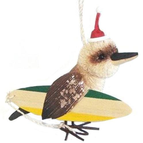 SURFING KOOKABURRA - CHRISTMAS TREE HANGING ORNAMENT - AUSTRALIAN BIRD