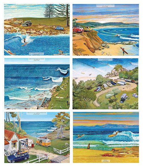 6 PLACEMATS + 6 COASTERS - 1960-70's SURF SAFARI, COAST, AUSTRALIA,CINNAMON,CORK