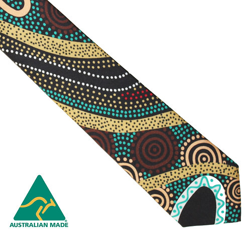 Aboriginal Men's Suit Tie - 100% Silk - Gathering by River - Australian Made