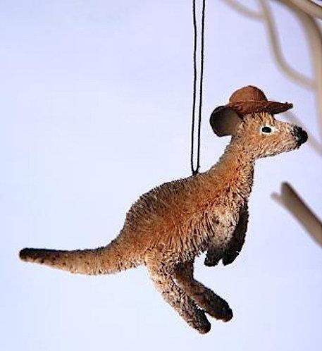 KANGAROO WITH AKUBRA HAT - CHRISTMAS TREE HANGING ORNAMENT - AUSTRALIAN ANIMAL