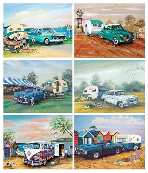6 Placemats + 6 Coasters - Australia,Cork - Classic Cars & Caravans,Holden,Kombi