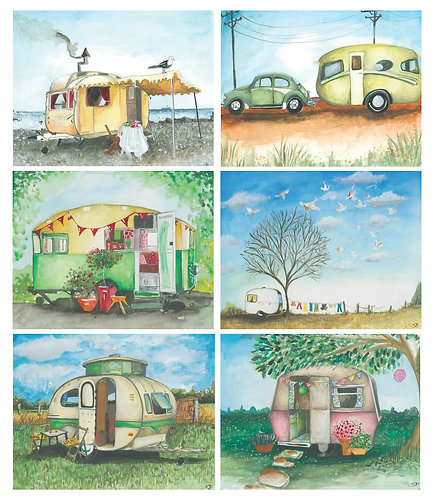 6 Placemats + 6 Coasters - Australia, Cork - Vintage Caravans, VW Beetle Bug Car