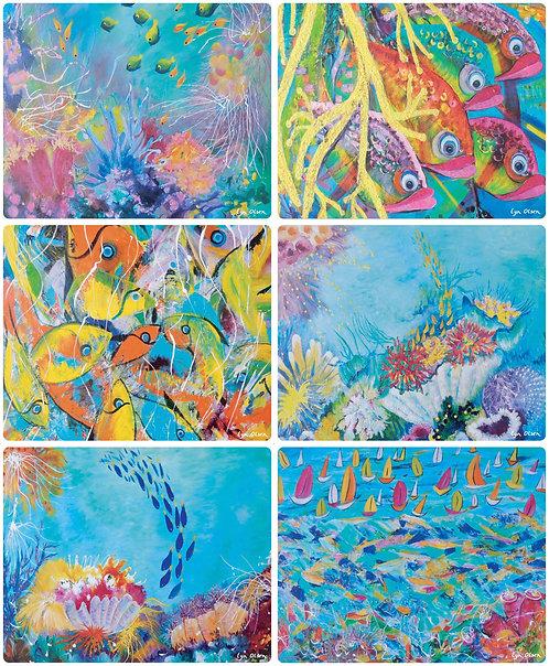 6 Placemats - Australia, Great Barrier Reef, Ocean, Coral, Fish, Waterproof