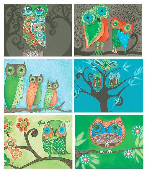 6 PLACEMATS + 6 COASTERS - OWLS, BIRDS, AUSTRALIA, CINNAMON, CORK