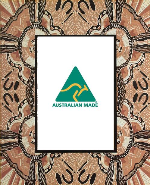 4 X MAGNETIC PHOTO FRAMES - ABORIGINAL IWANTJA ART - AUSTRALIAN MADE