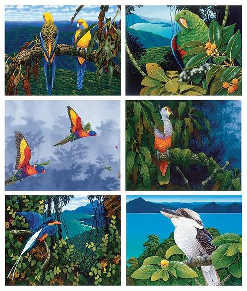 6 Placemats + 6 Coasters - Australia, Cork - Aus Birds,Kookaburra,Parrot,Rosella