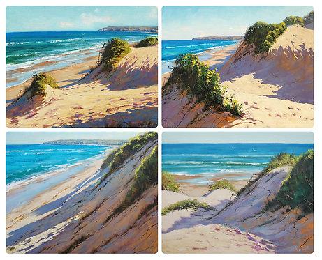 4 Coasters - Australia, Sand Dunes, Ocean, Beach, Seascapes, Waterproof
