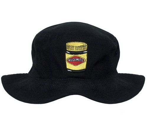 Bucket Hat - Australia, Vegemite, Black - 100% Cotton - Child, Kid, Girl, Boy