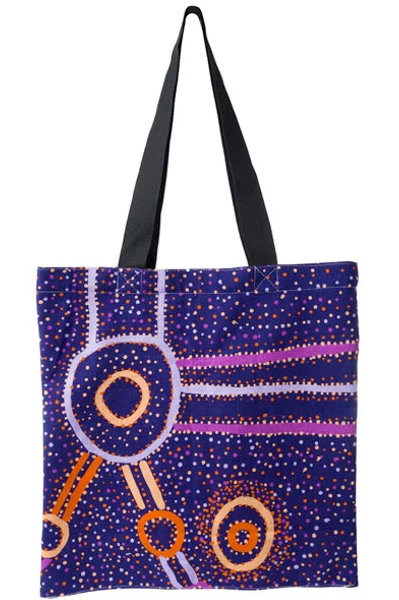 ABORIGINAL ART TOTE BAG, SHOPPING BAG, BEACH BAG, CARRY BAG - AUSTRALIAN MADE