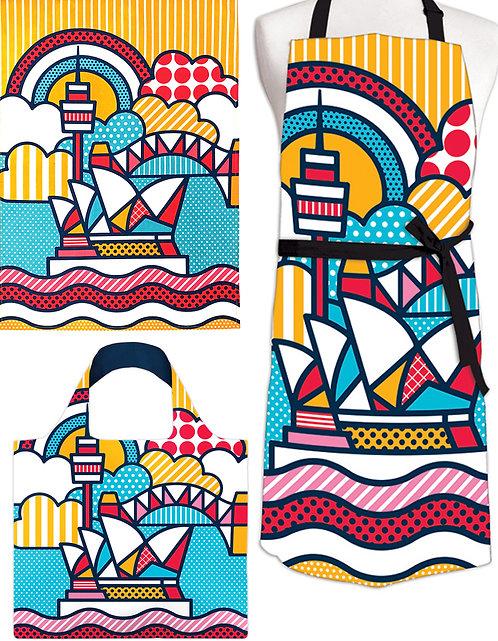 Tea Towel, Apron & Shopping Bag - Gift Set -Sydney Opera House,Australia,Pop Art
