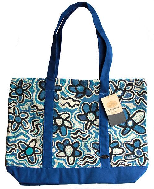 Aboriginal Tote Bag, Shopping Bag, Beach Bag, Day Bag - Australia, Tasman, Blue