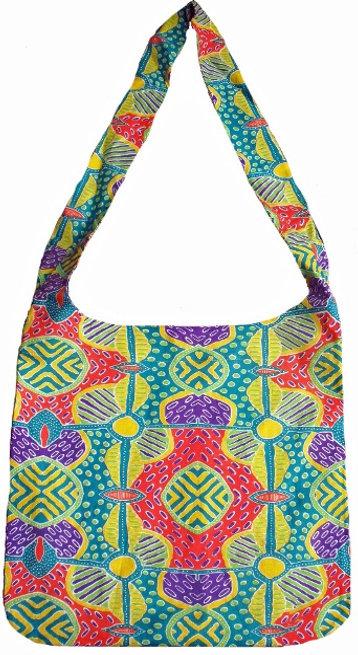 Tote Bag, Shopping Bag, Beach Bag, Day Bag- Australia, Aboriginal, Green, Yellow