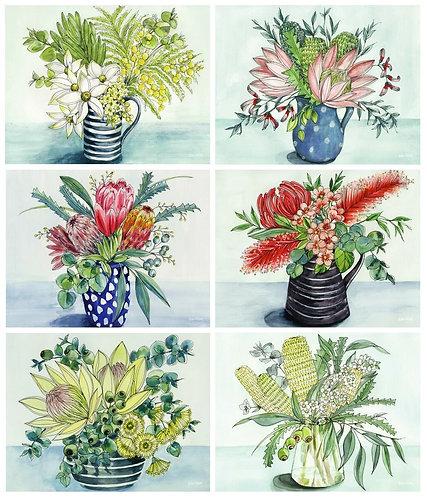6 PLACEMATS + 6 COASTERS - NATIVE VASE, FLOWERS, AUSTRALIA, CINNAMON, CORK