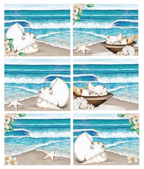 6 PLACEMATS + 6 COASTERS - PARADISE, LISA POLLOCK, AUSTRALIA, CINNAMON, CORK